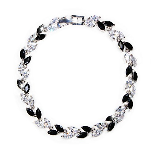 Women Black White Crystal Dainty Bracelet Cubic Zirconia Link Wedding Bridal Bracelet Jewelry Crystal Tennis Bracelet
