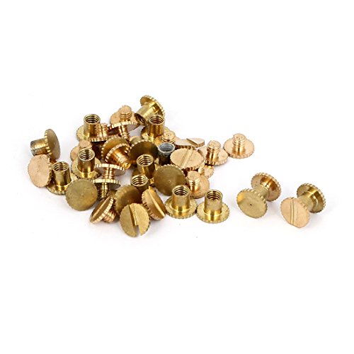 uxcell M5x5mm Photo Albums Scrapbook Knurling Brass Binding Screw Post 20 Pcs (Brass Screw Post Binding)