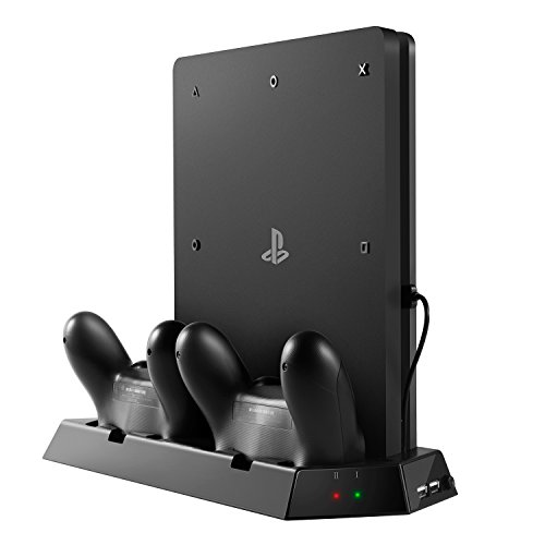 UZOPI PS4 Slim Vertical Stand Console Cooler with Dual Cooling Fan, Dualshock 4 Controller Charging Station, 2 HUB USB Ports and 8 Grip Cover Caps