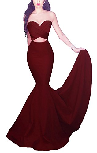 Gown Silhouette Prom Mermaid (Yinyyinhs Women's Mermaid Cut Out Prom Gown Long Formal Evening Dresses Size 10 Burgundy)