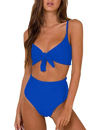 Honlyps Bikini Swimwear Womens High Waisted Two Piece Swimsuit Tie Knot High Cut Bathing Suit for Women Dark Blue