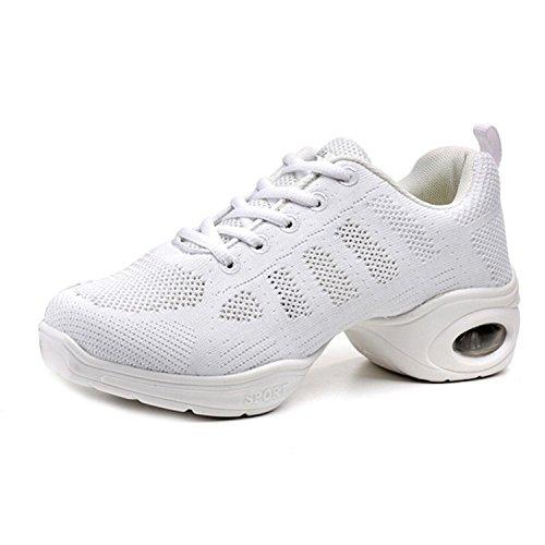 CHNHIRA Zapatillas Elegante Aptitud Deportivos Mujeres la Moderna de para Danza de Suela Blanco Jazz Movimiento Zapatos de Zapatos Baile Blanda AUAXS