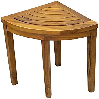 Amazon.com: ALATEAK Corner Wood Bath Spa Shower Stool Table Bench ...