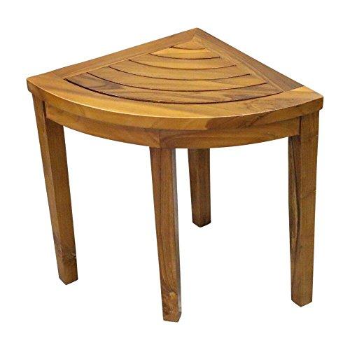(ALATEAK Corner Wood Bath Spa Shower Stool Table Bench Shelf Storage Fully Assembled)