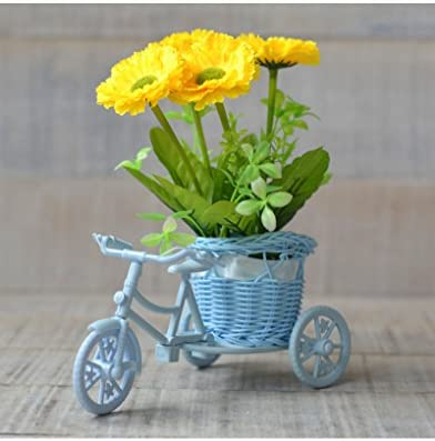 Macetero Bici Azul y Planta Artificial Dos Modelos Hogar y Más ...