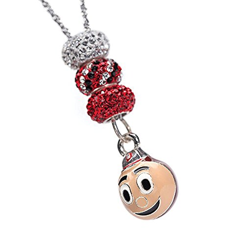 Ohio State Necklace | Brutus Buckeye Necklace with 3 Crystal Charms | Officially Licensed Ohio State Jewelry | OSU Gifts | OSU Charms | Ohio State Charms | Stainless Steel