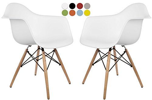 La Valley Mid Century Modern Molded Armchair with Dowel Wood Eiffel Legs – Set of 2 – for Dining Room, Kitchen, Bedroom, Lounge – Easy-Assemble Clean – White