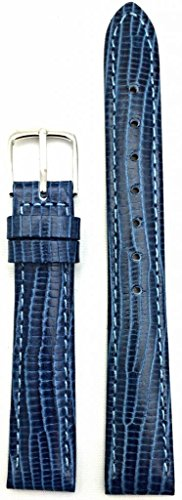 Blue Lizard Strap (NEWLIFE FOR OLD WATCH | 14mm Blue, Tail Lizard Grained Leather, Lightly Padded Watch Strap Replacement Band with Nubuck Lining for Women)