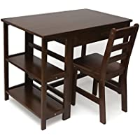 Lipper International 584WN Childs Work Station Desk and Chair, Walnut Finish
