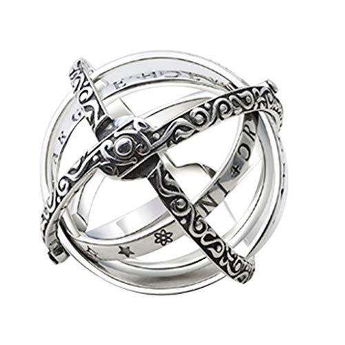 ALOVEMO Astronomical Sphere Ball Ring Cosmic Finger Ring Couple Lover Jewelry Gifts (Silver) ()
