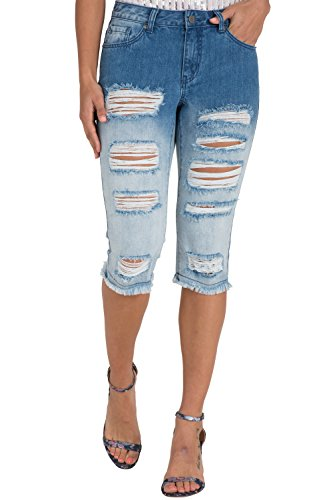 (Poetic Justice Women's Curvy Fit Distressed Dip Dyed Denim Ombre Bermuda Shorts Size 31 )