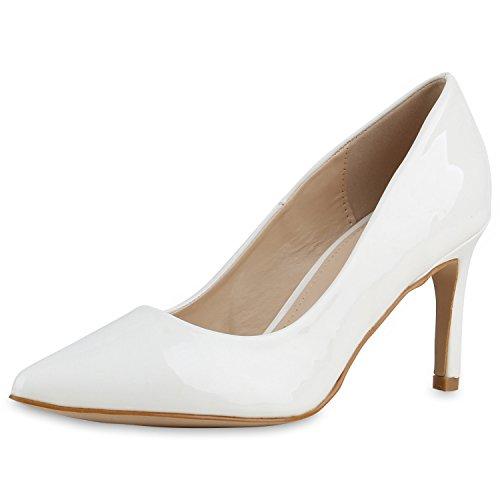 napoli-fashion Damen Schuhe Pumps Party High Heels Metallic Stilettos Jennika Weiss Lack