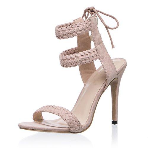 Alti Sandali 10 Tessere Altezza Peep Toe Albicocca JUWOJIA Cm Tacchi Tacco Caviglia Estate Cinturino Donna Alla 8np1xqPFv