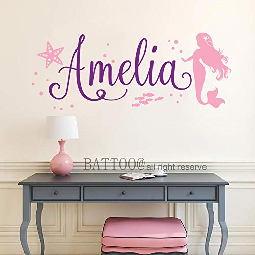 (BATTOO Mermaid Wall Decal Nursery Wall Art Custom Wall Art Decal Personalized Girl Name Decal Mermaid Wall Art Mermaid Decor 40