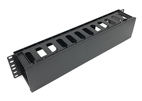 (EnEdge 2U Rack Mount Horizontal Plastic Cable Management Tray with Cover - Finger Duct - 19
