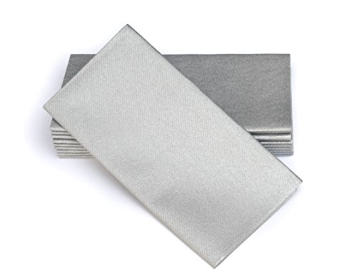 Simulinen Dinner Napkins - Disposable, Silver, Cloth-Like - Elegant, Yet Heavy Duty Soft, Absorbent & Durable - 16