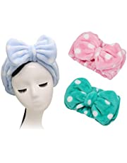 Shintop 3 Pack Flannel Cosmetic Headbands, Bowknot Elastic Hair Band Hairlace for Washing Face Shower Spa Makeup (Pink Polka Dots+ Light Blue Polka Dots+ Green Polka Dots)
