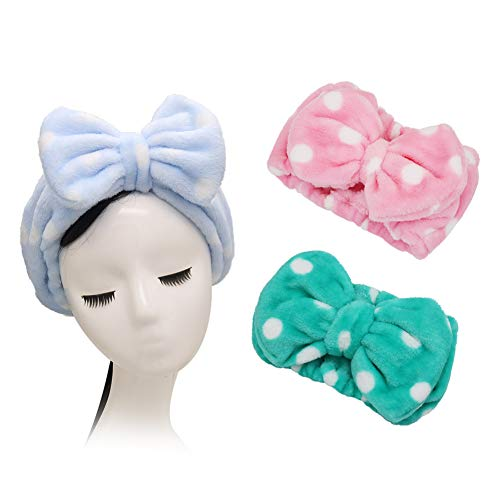Shintop 3 Pack Flannel Cosmetic Headbands, Bowknot Elastic Hair Band Hairlace for Washing Face Shower Spa Makeup (Pink Polka Dots+ Light Blue Polka Dots+ Green Polka Dots)