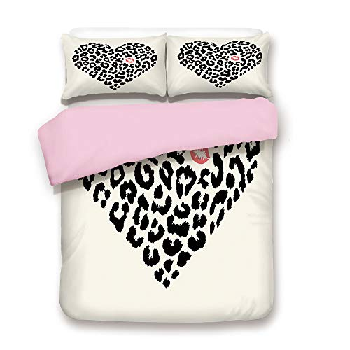Pink Duvet Cover Set,Twin Size,Heart Shape Wild Leopard Skin Pattern and a Kiss Mark Valentines Day Honeymoon Decorative,Decorative 3 Piece Bedding Set with 2 Pillow Sham,Best Gift For Girls Women,Cre