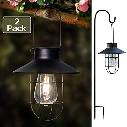 EKQ ROJOY Hanging Solar Lights Lantern Lamp with Shepherd Hook, Metal Waterproof Edison Bulb Lights for Garden Outdoor Pathway 2Pack Black