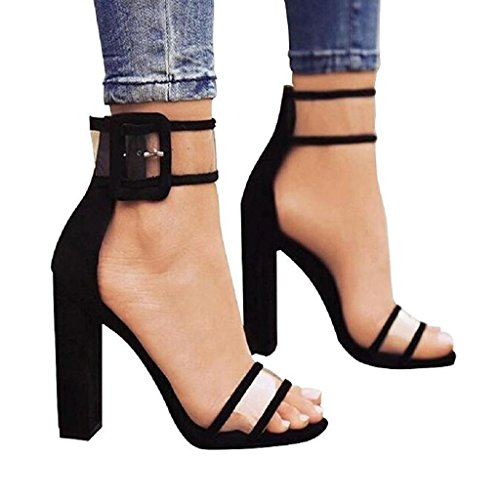 YingNeng Women Lucite Clear Strappy Chunky High Heel Sandals Velvet Cloth Transparent Open Toe Shoes (8 B(M) US, Black) from YingNeng