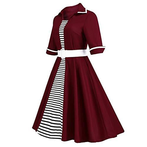 Robe Et La Red Alian De Soie En 3wine Taille Mousseline Rayée Fashion Dress Manches Élégante Mode À Demi Women longues Grande ROwqOt6