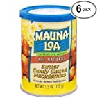 Mauna Loa Macadamias, Butter Candy Glazed, 5.5-Ounce Containers (Pack of 6)
