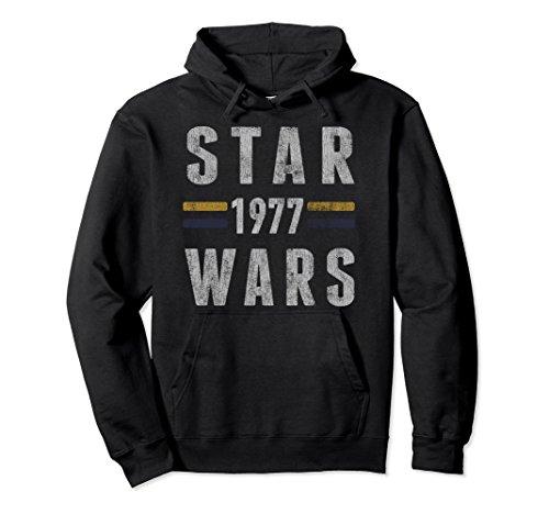Unisex Star Wars 1977 Vintage Collegiate Retro Graphic Hoodie Medium (Black Collegiate Hoody Sweatshirt)