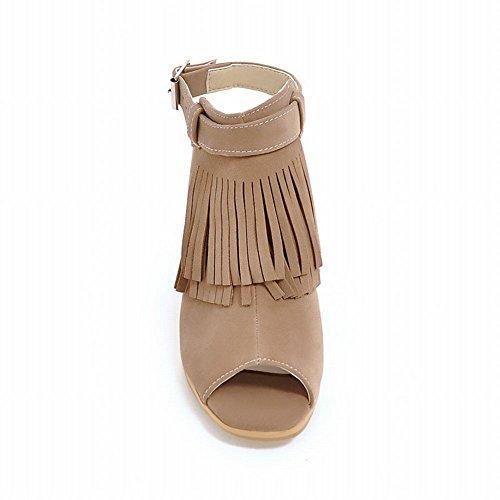 Charm Fot Womens Mode Tofsar Ankelbandet Chunky Hög Klack Sandaler Mörk Aprikos