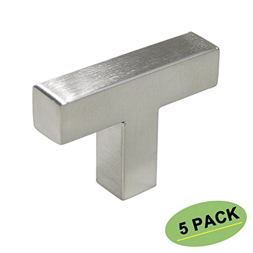 T Cabinet Knobs Brushed Nickel -homdiy 5 Pack HDJ12SN Kitchen Cabinet Hardware Metal Drawer Knobs for Bathroom, Closet, Wardrobe