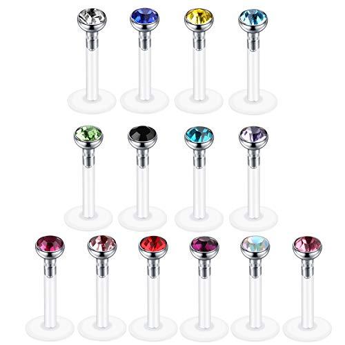 Xpircn 14PCS Labret Lip Rings 16g Bioflex Labret Tragus Helix Cartilage Earring Stud Medusa Monroe Piercing (Monroe Piercing Jewelry 14g)