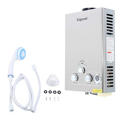 Ridgeyard Propane LPG Gas 8L Tankless Water Heater Hot Water Boiler with Shower Head Kit (8L)