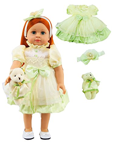 """Yellow and Green Silk Dress with Bear -Fits 18"""" American Girl Dolls, Madame Alexander, Our Generation, etc. 