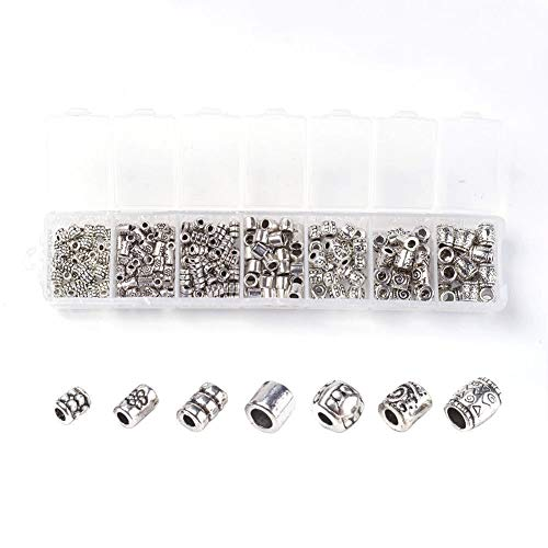 260pcs/Box Tibetan Alloy Column Metal Beads Carved Loose Spacers Findings 4~8mm (Critters Crunchy)
