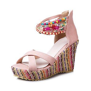 Le donne sexy elegante sandali donna tacchi Primavera Estate Autunno scarpe Club PU Office & Carriera Party & abito da sera cuneo tacco Rosa Blu Beige Arancione , beige , noi9.5-10 / EU41 / uk7.5-8 /