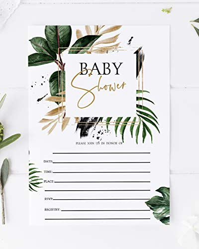 Tropical Baby Shower Invitations, Tropical Greenery Baby Shower Invitations, Botanical Baby Shower, Gender Neutral, Fill In Cards - 5x7-20 Pack