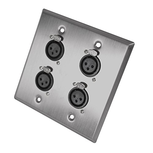 Seismic Audio SA-PLATE29 Stainless Steel Wall Plate 2 Gang with 4 XLR Female Connectors for Cable Installation (Xlr Female Wall Plate)