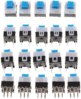 Tivollyff 20個のラッチ付き7x7mmミニ触覚プッシュボタンスイッチオン/オフDIP-6pins