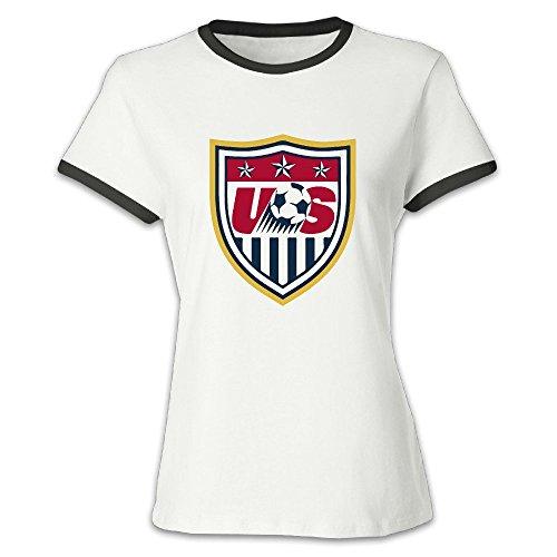 QUEENAS Women's 2016 FIFA Women's World Cup USA Team Shield T-shirts Black