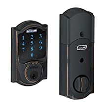 Schlage BE469NXCAM716 Camelot Touchscreen Deadbolt with Nexia Home Intelligence and Alarm, Aged Bronze, Z-Wave