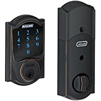 Schlage BE469NX-CAMRF Connect Camelot Touchscreen Deadbolt Smart Lock with Built-in Alarm (Aged Bronze) - Manufacturer Refurbished