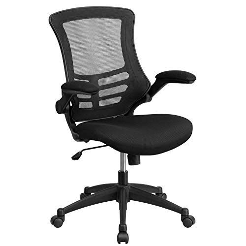 (Mid-Back Black Mesh Swivel Task Chair with Mesh Padded Seat and Flip-Up Arms)