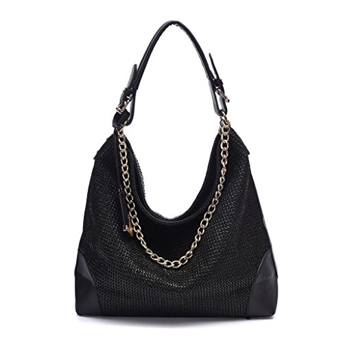 DDDH Women's PP Woven Surface PU Leather Handbags Handmade Shoulder Handbags Summer Tote Bags Straw Bag(Black)