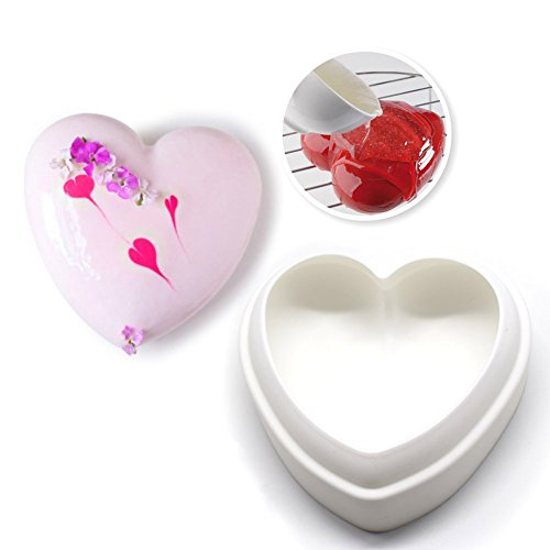 Chige Heart Mousse Cake Mold Trays, 6.2-inch Silicone Baking Pan-Food Grade & BPA Free-Not Sticky Mould Suitable For Mousse,Chocolate Brownie,Jelly,Ice Cream,Chiffon,Cheesecake,Fondant