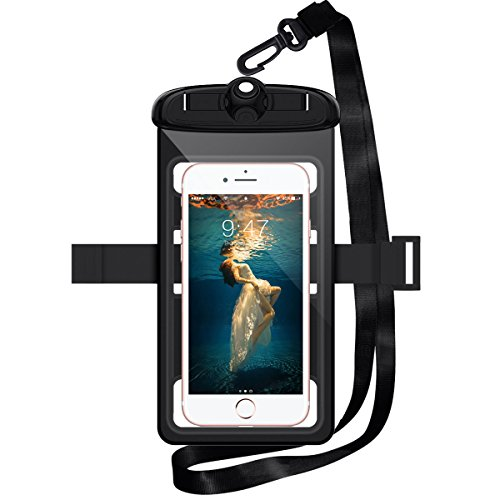 WorCord Universal Waterproof Case [Triple Lock] Cellphone Dry Bag Pouch with Armband Neck Strap for Outdoor Swimming Skiing Activies for iPhone, Samsung and More Smartphone up to 6.3 Inche  Black