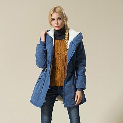 Blu Donna Da Fashion Moda Beikoard Parka Lambswool Di Warm Cotone Spessore Outwear In Giacca Invernale Itq6qFp