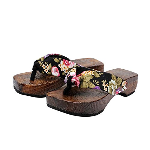 Huizhuangshigong Summer Platform Shoes Wood Women Sandals Clog Wooden Slippers Flip Flops