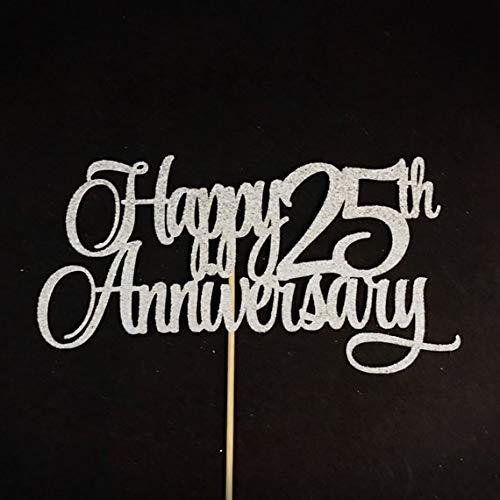 Happy 25th Anniversary Topper, Silver Anniversary Cake Topper, 25 Years Anniversary Centerpiece