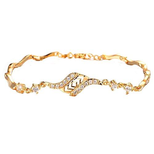 (XIEXIE Beautiful 18 K Gold Plating Mosaic AAA Zircon Ms Gold Fine Bracele Gifts ,)