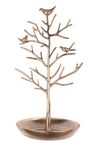 Inviktus Silver Birds Tree Jewelry Stand Display Earring Necklace Holder Organizer Rack Tower - Necklace Jewelry Holder
